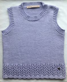 Lavender Cotton Tunic Top Knitted Vest Sleeveless by CJsHandknits, £35.00