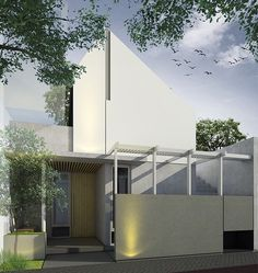 Image may contain: plant, tree, sky and outdoor Building Facade, Building Design, Fasade Design, Home Id, Roof Architecture, Lobby Design, Tropical Houses, Facade House, Minimalist Home