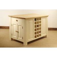 Devon Painted Pine Furniture Kitchen Island Trolley Unit With Oak Top