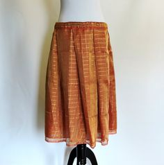 Pleated Aline Skirt: Knee Length Skirt, Indian Sari Skirt, Copper Gold Skirt, Saree Skirt, Windowpane Pattern, Burgundy Ribbon Bow, India by DelhiDaze on Etsy Indian Skirt, Gold Skirt, Boho Skirts, Gold Sequins, Ribbon Bows, Short, Pleated Skirt, Hemline, Burgundy