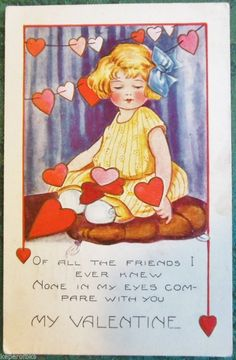 YOUNG GIRL LAP of HEARTS POEM-VINTAGE EMBOSSED WHITNEY MADE VALENTINE POSTCARD  #ValentinesDay
