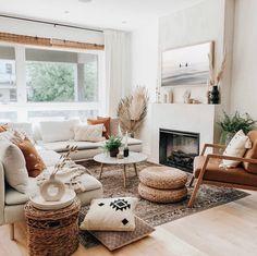 Boho Living Room, Earthy Living Room, Neutral Living Rooms, Chairs For Living Room, Living Room Fireplace, Modern Living Room Decor, Cute Living Room, Modern Contemporary Living Room, Living Room To Bedroom