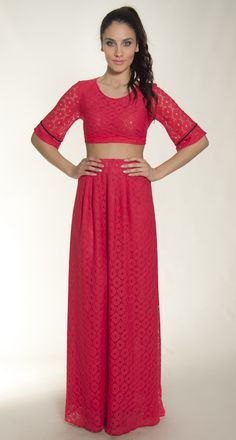 top & skirt maxi coral lace s/s collection 2015,elbano