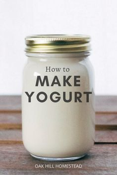 Homemade yogurt is simple to make and money-saving too! You can avoid those commercial yogurt ingredients that you can't pronounce, plus artificial colors and flavors, and add your favorite fruit, nuts and other flavorings for a delicious breakfast or a decadent snack. Learn how to make yogurt at home from scratch. How To Make Cheese, Food To Make, Yogurt Benefits, Making Yogurt, Full Fat Yogurt, Processed Sugar, Homemade Yogurt, Canning Jars, Drying Herbs
