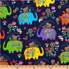 Timeless Treasures Elephant Showers Navy