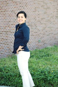 Polka dot blouse + white pants for business casual | Who Wore What | http://skirttheceiling.com