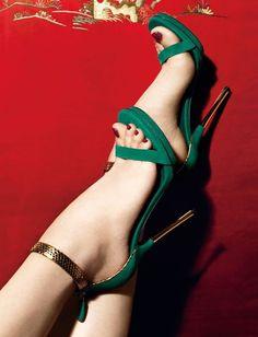 "Gucci ""Kelis"" Green Ankle Strap Sandal #Gucci #Shoes #Heels"
