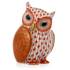 "Herend Hand Painted Porcelain Figurine ""Mother Owl"" Rust Fishnet Gold Accents."