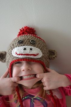 Sock Monkey Hat Pattern - This will be my first one. Just too cute. I think I have to make Wyatt one. Wyatt's dad was OBSESSED with sock monkeys growing up. All he wanted - and he never had one. : )