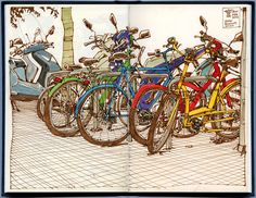 Bike mess by freekhand, via Flickr (check out Flickr for more awesome sketchbook pages)