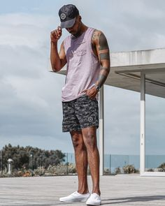 STAFF PIC: The Purple & Black Summer Uniform ⚫️ ⊗➤ Slick, clean & fresh A. - Featuring the Cesar Vest, Marmont Shorts & Cross Hair Cap. ➤ Cop it Now 🔗 spcc.me/PurpleBlack Purple And Black, Streetwear, Vest, Menswear, Cap, Shorts, Summer, Street Outfit, Baseball Hat