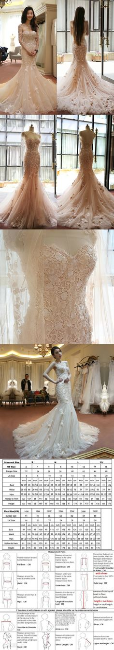 2016 Spring Custom Made Champagne Bridal Gowns Sweetheart Mermaid Elegant Appliques Lace 3D Flowers Wedding Dresses With Train