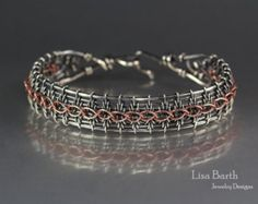 The Snake Weave Border Bracelet by LisaBarthJewelry on Etsy Lace Bracelet, Wire Wrapped Bracelet, Woven Bracelets, Unique Bracelets, Copper Bracelet, Wire Jewelry Designs, Handmade Wire Jewelry, Wire Jewelry Making, Jewelry Making Tutorials