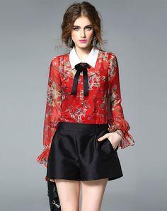 #AdoreWe #VIPme Blouses & Shirts❤️Designer mojaser Red Floral Print Silk Puff Long Sleeve Blouse - AdoreWe.com