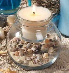 Beach Theme Shell Candle Set – Candle Making Seashell Candles, Seashell Art, Seashell Crafts, Beeswax Candles, Diy Candles, Candle Craft, Candle Set, Glass Craft, Deco Marine