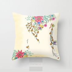Decorative watercolor Floral to Floral Pillow Cover • 18x18 inches • 80% polyester / 20% cotton fleece • Soft and durable • Double sided print • Concealed zipper • Machine washable •• Note: Insert is