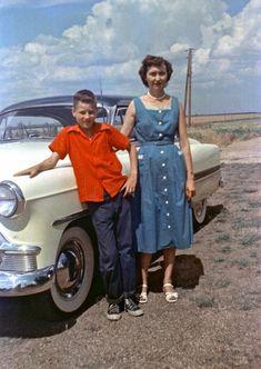 1954. Nice blue sundress.