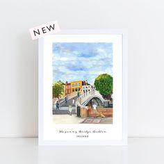 Ha'penny Bridge, Dublin, Ireland archival print Pedestrian Bridge, Dublin Ireland, Pigment Ink, Watercolor Paper, Childhood Memories, Vibrant Colors, Irish, Road Trip, Hand Painted