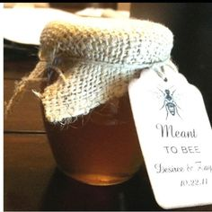 """Favors - """"Meant to Bee"""" tags on honey pots"""
