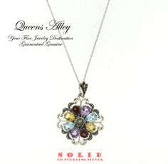 Multi Colored Gemstone Marcasite .925 Solid Sterling Silver Pendant Necklace . Starting at $1