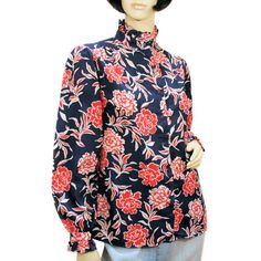 """""""Patriotic Posies"""" 80s Blouse, Red White Blue, Carnations Floral Ruffles S/M from MorningGlorious"""
