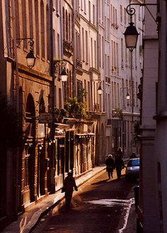 Rue de Bièvre, Paris 5e. A charming, winding medieval street where former President François Mitterrand lived in a historic old house.