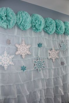 Cool backdrop at a Frozen girl Birthday Party! See more party ideas at CatchMyParty.com!