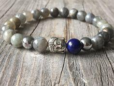 Men gemstone bracelet, Buddha beaded bracelet, stretch stacking bracelet…