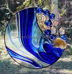 Handmade Round Stained Glass Suncatcher by StainedGlassAndMore