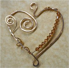 Wire Wrapped Heart Shaped Components  Set of Four by SunStones, $26.00