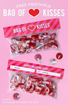 Bag of kisses Valentine free printable Valentine