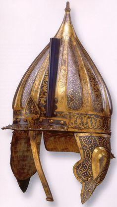 Hungarian zischagge helmet from the century, this style of helmet was based on the Ottoman chichak helmet Helmet Armor, Viking Helmet, Arm Armor, Ancient Armor, Vintage Helmet, Armadura Medieval, Ottoman Empire, 16th Century, Islamic Art