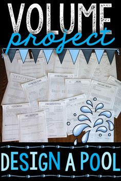 Volume Project: Design an aquatic center, complete with a diving pool, slide catch pool, and more! Aligned to the fifth grade common core standards: 5.MD.3, 5.MD.4, and 5.MD.5