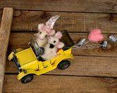 Felt wool cute Miniatures Mouse Sheep Fairy Mobile. di CozyMilArt