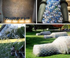 Empty water bottles are plentiful and make an interesting artistic medium.  Giant bottles made of recycled plastic bottles are tipped over on the grass at an art installation in North Evanston, Illinois.
