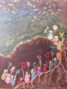 Chalkboard art from Waldorfski Vrtec Jabuka. Mother Earth and her root children (Etwas von den Wurzelkinder)