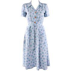 1940s Shirt Dress blue print ($140) ❤ liked on Polyvore featuring dresses, 40s, vintage, vintage dresses, print dress, long shirt dress, blue print dress и pattern dress