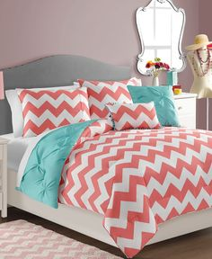Brighten the look of your bedroom with this lively and whimsical comforter set, featuring a solid turquoise ground with ruching detail that reverses to a bold white and coral chevron print. Matching shams and decorative pillows accent the set perfectly. Teal Bedroom, Duvet Cover Sets, Comforter Sets, Bedding Sets, Vcny, Bed, Bed In A Bag, Baby Room Decor, Comforters