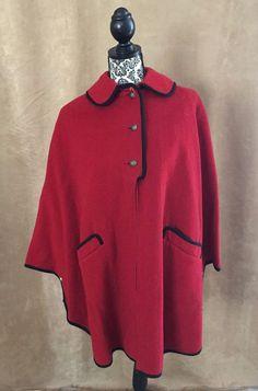 S Vintage Wool cape Euro Craft Import Germany Nanny coat jacket womens small #EuroCraft #Everyday