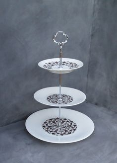 Tiered Cake Plate Brown u0026 White St&ed Pattern China Cupcake Stand Dessert Plate & Floral Cake Stand 2 Tier Cake Plate | Mismatched Tiered Blue Green ...