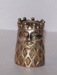 Antique Sterling Silver Thimble King w/ Crown, Head & Face
