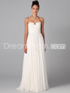 2013 Style A-line Strapless Ruffles  Sleeveless Floor-length Chiffon White Prom Dress / Evening Dress