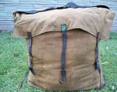 """The holy grail of camping/ hiking equipment in this patented in 1882 Duluth """"Poirier Pack Sack"""" BackpackRucksack Bag. (Actual Date on this Camille Poirier Strap Pack is """"PAT'D NOV. 10. 1882."""") The application for the """"Pack Strap"""" at the US Patent Office was filed on October 11, 1882. Handmade in Duluth, Minnesota by Camille Poirier himself, who pioneered the company (today known as Duluth Pack, Duluth-MN)."""