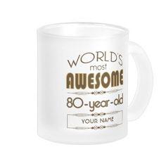 80th Birthday Celebration World Best Fabulous Frosted Glass Coffee Mug