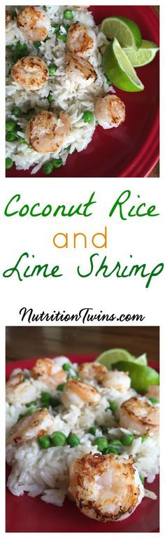 Lime Shrimp with Coconut Rice | Easy Weeknight Dinner | Healthy with Only 315 Calories, and Satisfying with 30 Grams Protein  | For MORE RECIPES, fitness & nutrition tips please SIGN UP for our FREE NEWSLETTER www.NutritionTwins.com