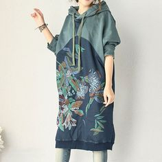 Women Long Sleeve Autumn Hooded Dress