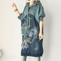 Women Long Sleeve Autumn Hooded Dress