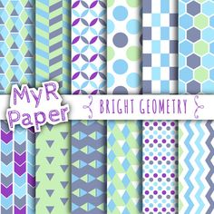 """Digital Paper : """"Geometric """" Bright Geometry, Instant Download, Chevrons, Argyle, Triangles, Polka Dots, Bright Shades of Blue and Green"""