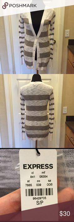 NWT - Express Striped Cardigan NWT - Express Striped Cardigan. Beige and white. Size small. No trades. Smoke free home. PM only for your protection and mine😊 Express Sweaters Cardigans