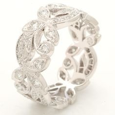 Beverley K Wide Floral Eternity Band